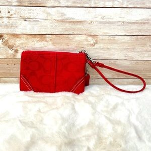 🌸 Coach Monogrammed Red Canvas & Leather Wristlet